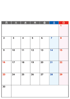 月間カレンダーチラシデザインテンプレート0359