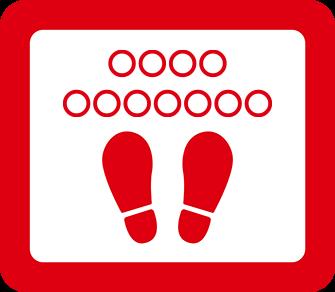 ソーシャルディスタンス用のフロア誘導シール(長方形:サイズ小)【FL-D-0005】