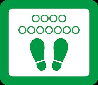 ソーシャルディスタンス用のフロア誘導シール(長方形:サイズ小)【FL-D-0007】