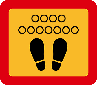 ソーシャルディスタンス用のフロア誘導シール(長方形:サイズ小)【FL-D-0008】