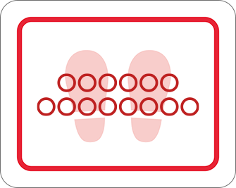 ソーシャルディスタンス用のフロア誘導シール(長方形:サイズ大)【FL-D-0109】