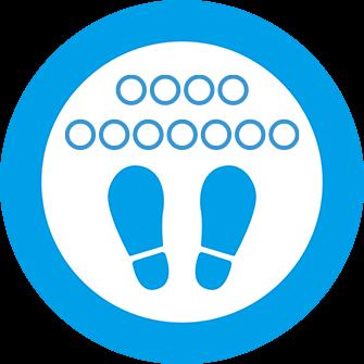 ソーシャルディスタンス用のフロア誘導シール(円形:サイズ小)【FL-D-0150】