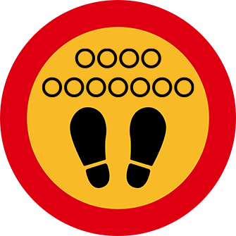 ソーシャルディスタンス用のフロア誘導シール(円形:サイズ小)【FL-D-0152】