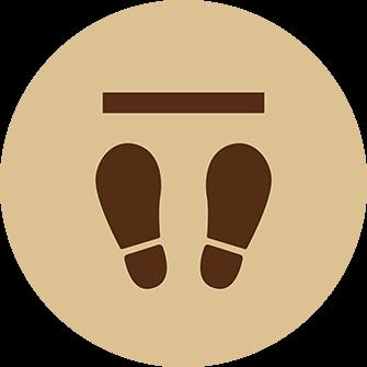 ソーシャルディスタンス用のフロア誘導シール(円形:サイズ小)【FL-D-0157】