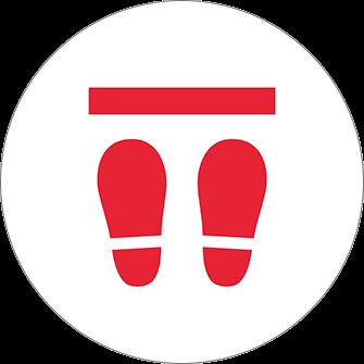 ソーシャルディスタンス用のフロア誘導シール(円形:サイズ小)【FL-D-0173】