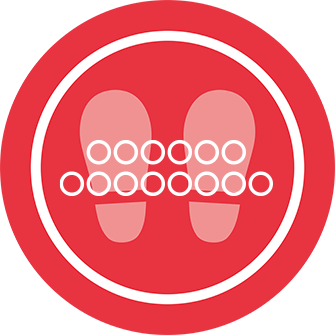 ソーシャルディスタンス用のフロア誘導シール(円形:サイズ小)【FL-D-0177】
