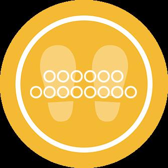 ソーシャルディスタンス用のフロア誘導シール(円形:サイズ小)【FL-D-0180】