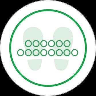 ソーシャルディスタンス用のフロア誘導シール(円形:サイズ小)【FL-D-0183】
