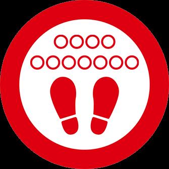ソーシャルディスタンス用のフロア誘導シール(円形:サイズ大)【FL-D-0221】