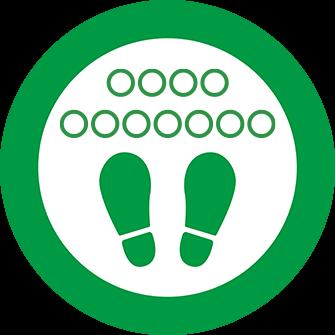 ソーシャルディスタンス用のフロア誘導シール(円形:サイズ大)【FL-D-0223】