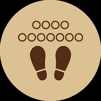 ソーシャルディスタンス用のフロア誘導シール(円形:サイズ大)【FL-D-0233】
