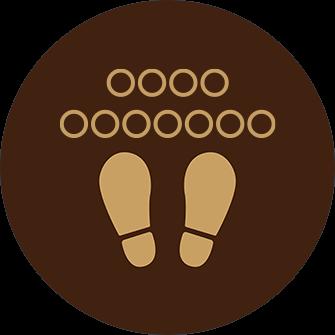 ソーシャルディスタンス用のフロア誘導シール(円形:サイズ大)【FL-D-0234】