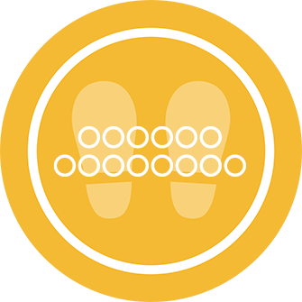 ソーシャルディスタンス用のフロア誘導シール(円形:サイズ大)【FL-D-0252】