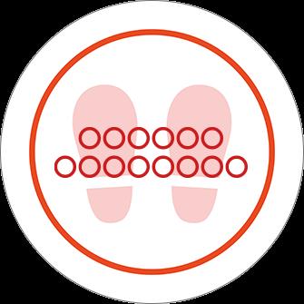 ソーシャルディスタンス用のフロア誘導シール(円形:サイズ大)【FL-D-0253】