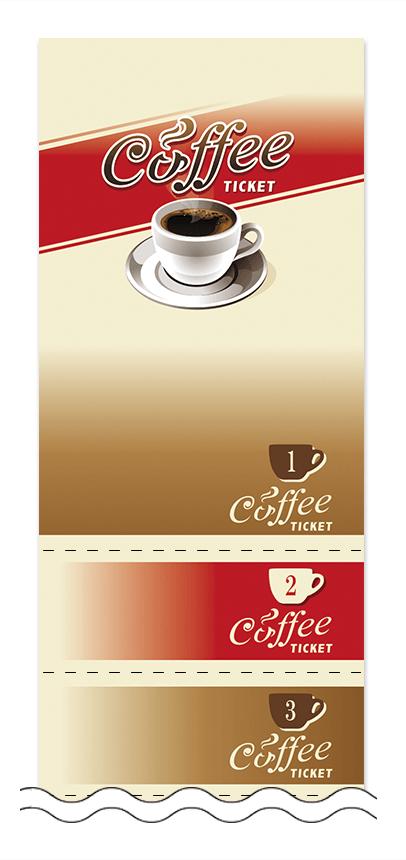 コーヒーの回数券6枚綴りデザインテンプレート0001