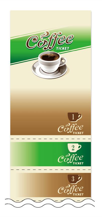 コーヒーの回数券6枚綴りデザインテンプレート0004
