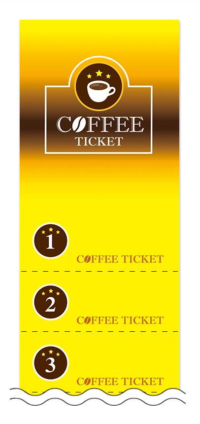 コーヒーの回数券6枚綴りデザインテンプレート0006