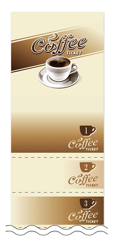 コーヒーの回数券6枚綴りデザインテンプレート0007