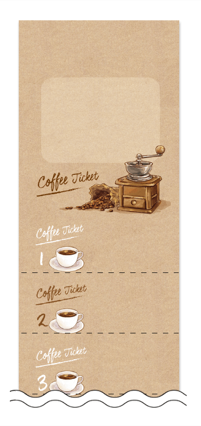 コーヒーの回数券6枚綴りデザインテンプレート0011