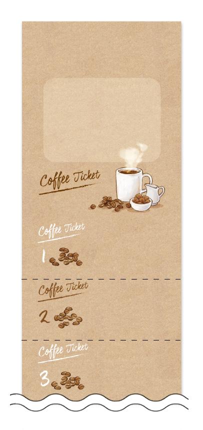 コーヒーの回数券6枚綴りデザインテンプレート0012