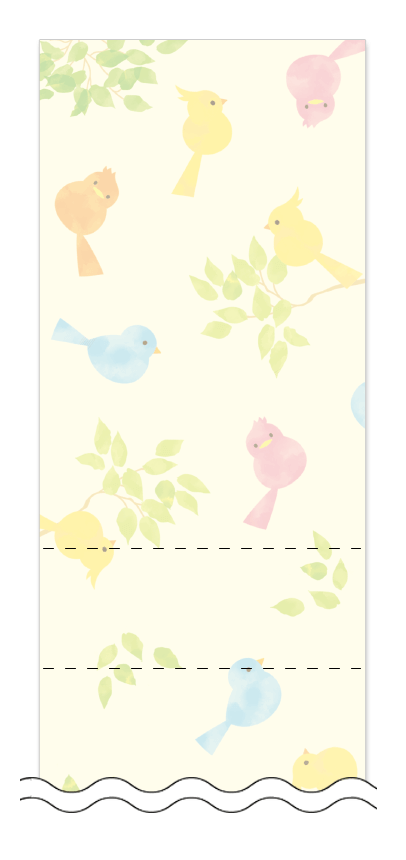 フリーデザイン「新緑・グリーン・小鳥」回数券テンプレート画像0028