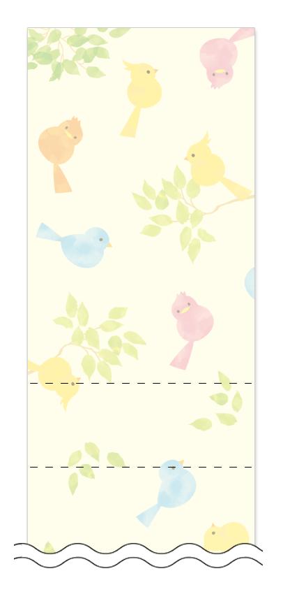 新緑・グリーン・小鳥の回数券6枚綴りデザインテンプレート0028
