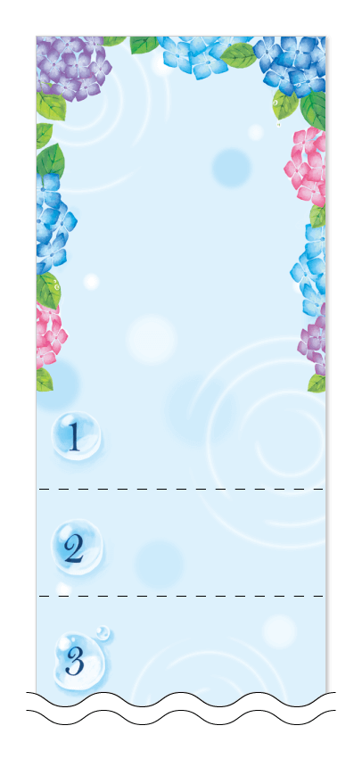 梅雨・アジサイの花の回数券6枚綴りデザインテンプレート0029