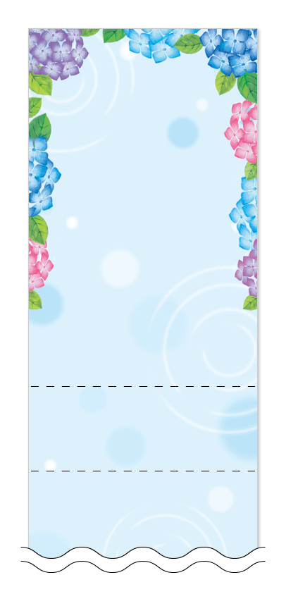 梅雨・アジサイの花の回数券6枚綴りデザインテンプレート0030
