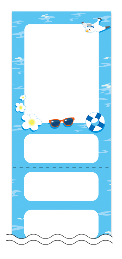 夏・涼・星空・ホタルの回数券6枚綴りデザインテンプレート0036