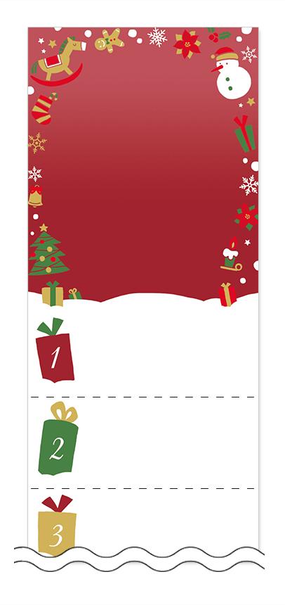 冬・雪・クリスマスの回数券6枚綴りデザインテンプレート0093