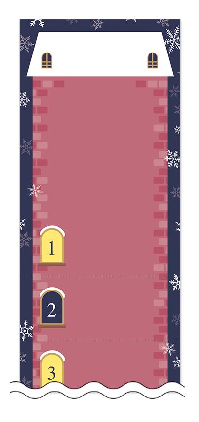 冬・雪・クリスマスの回数券6枚綴りデザインテンプレート0095