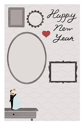 年賀はがきの子年の結婚報告デザインテンプレートNJ-A-0133