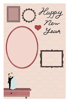 年賀はがきの子年の結婚報告デザインテンプレートNJ-A-0135