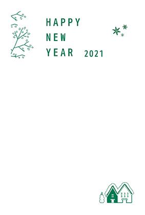 年賀はがきの子年のシンプルデザインテンプレートNJ-A-0042