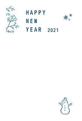 年賀はがきの子年のシンプルデザインテンプレートNJ-A-0043