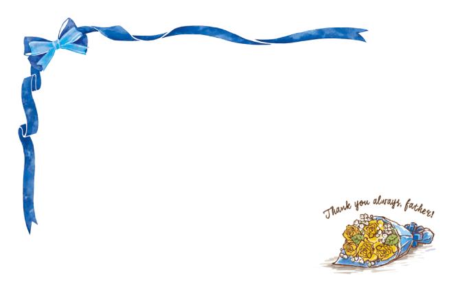 ショップカード(父の日・黄色いバラ)のデザインテンプレート