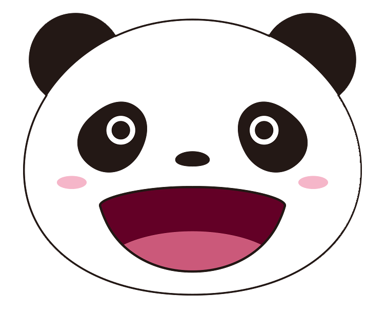 紙うちわ 動物(パンダ・たぬき)デザインテンプレート0018
