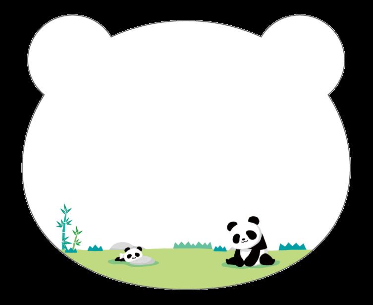 紙うちわ 動物(パンダ・たぬき)デザインテンプレート0225