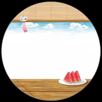 紙うちわ(丸型)デザインテンプレート0130