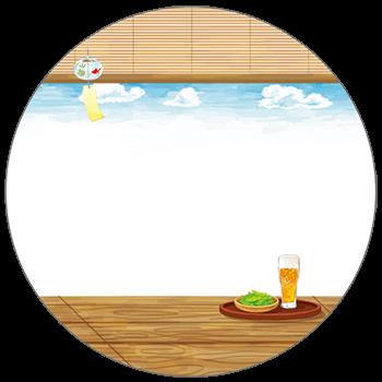紙うちわ(丸型)デザインテンプレート0132