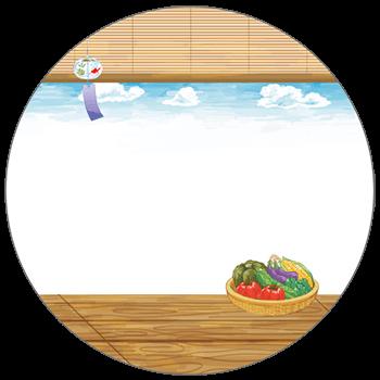 紙うちわ(丸型)デザインテンプレート0133