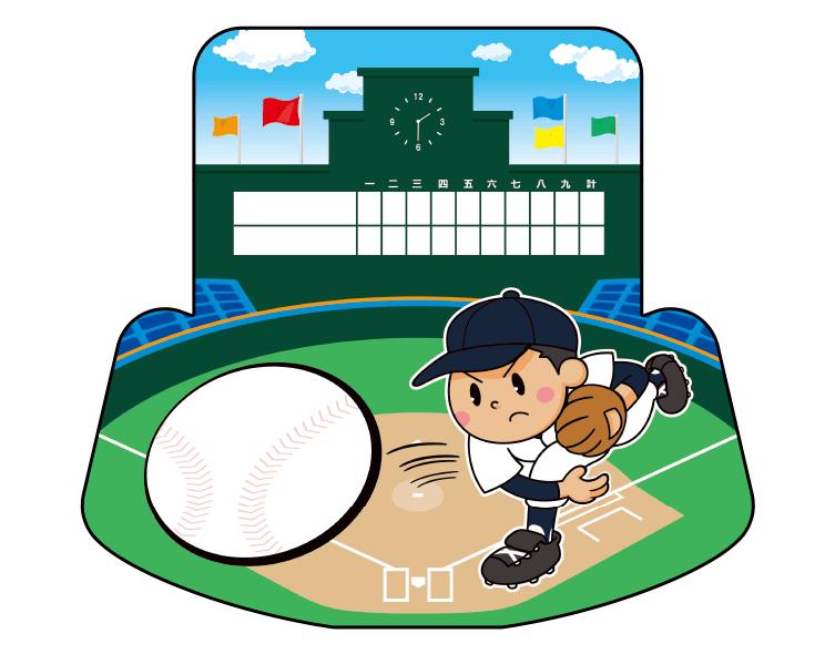 紙うちわ(野球)デザインテンプレート0036