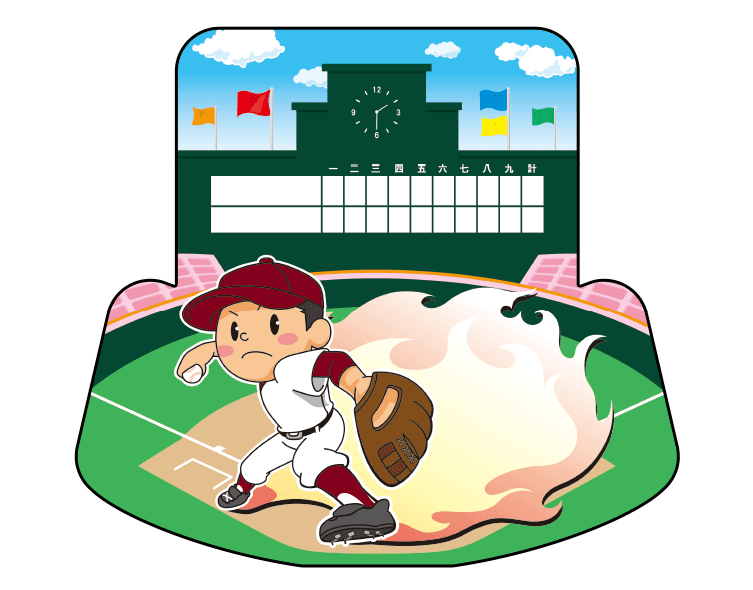 紙うちわ(野球)デザインテンプレート0046
