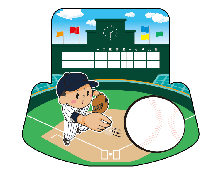 紙うちわ(野球)デザインテンプレート0049
