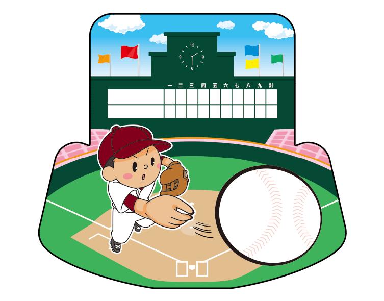 紙うちわ(野球)デザインテンプレート0050
