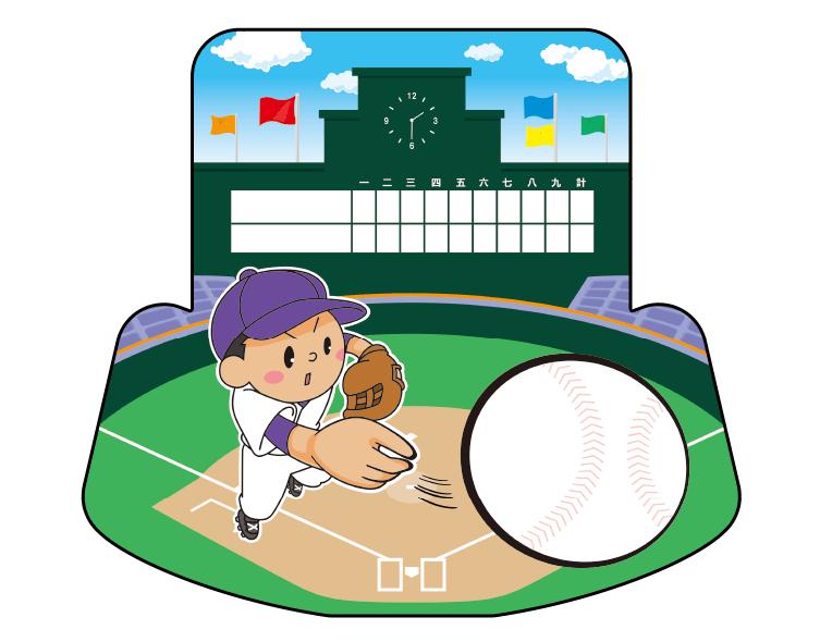 紙うちわ(野球)デザインテンプレート0051