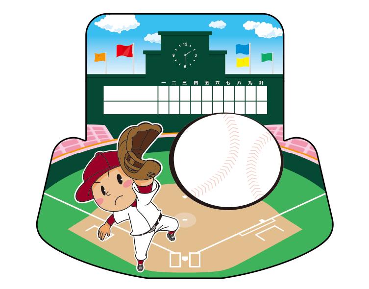 紙うちわ(野球)デザインテンプレート0054