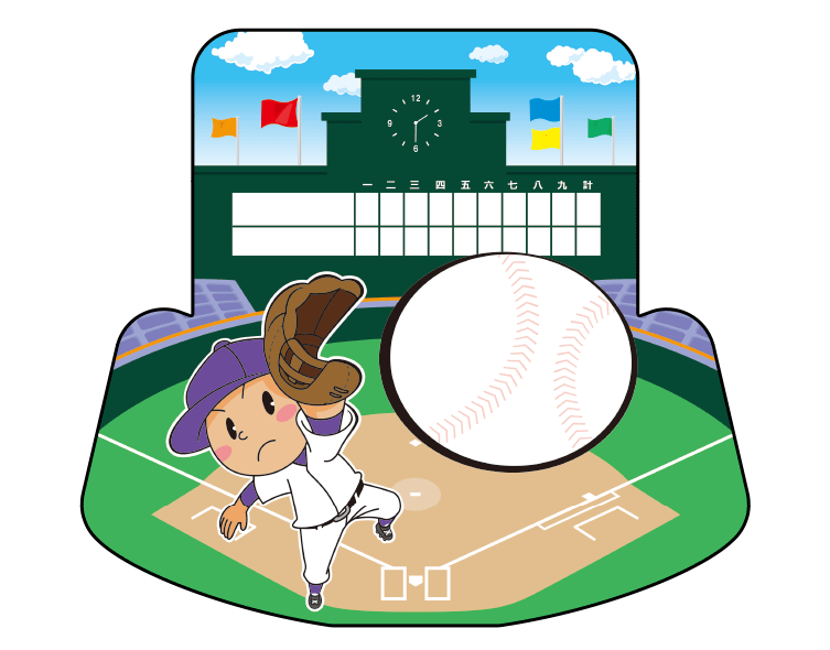 紙うちわ(野球)デザインテンプレート0055