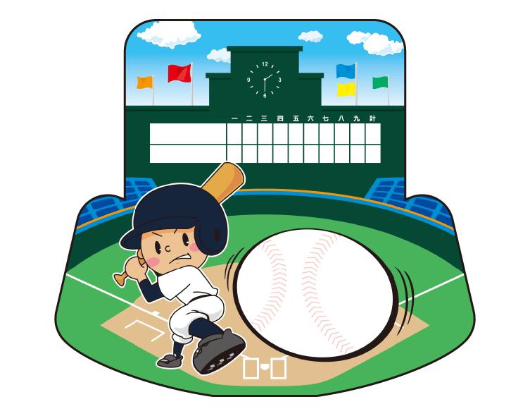 紙うちわ(野球)デザインテンプレート0068