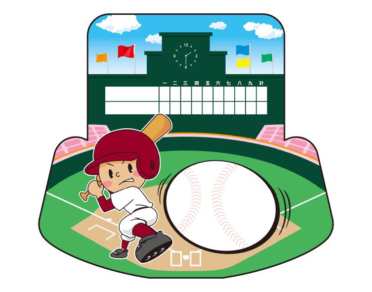 紙うちわ(野球)デザインテンプレート0070